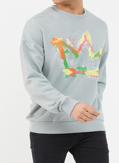 XHAN Buz Mavisi Baskılı Yumuşak Dokulu Sweatshirt 1Kxe8-44475-43 Mavi